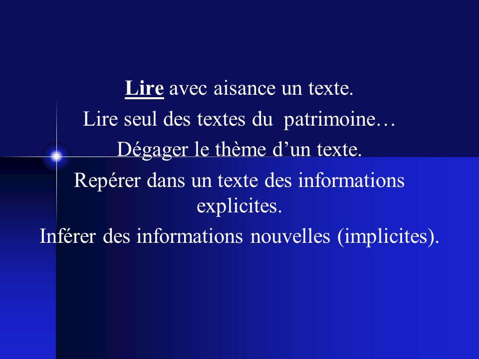 Lire avec aisance un texte. Lire seul des textes du patrimoine… Dégager le thème dun texte.