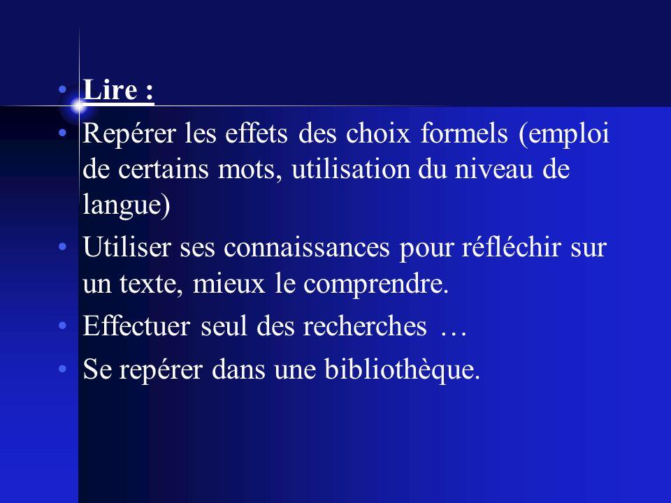 Lire : Repérer les effets des choix formels (emploi de certains mots, utilisation du niveau de langue) Utiliser ses connaissances pour réfléchir sur un texte, mieux le comprendre.