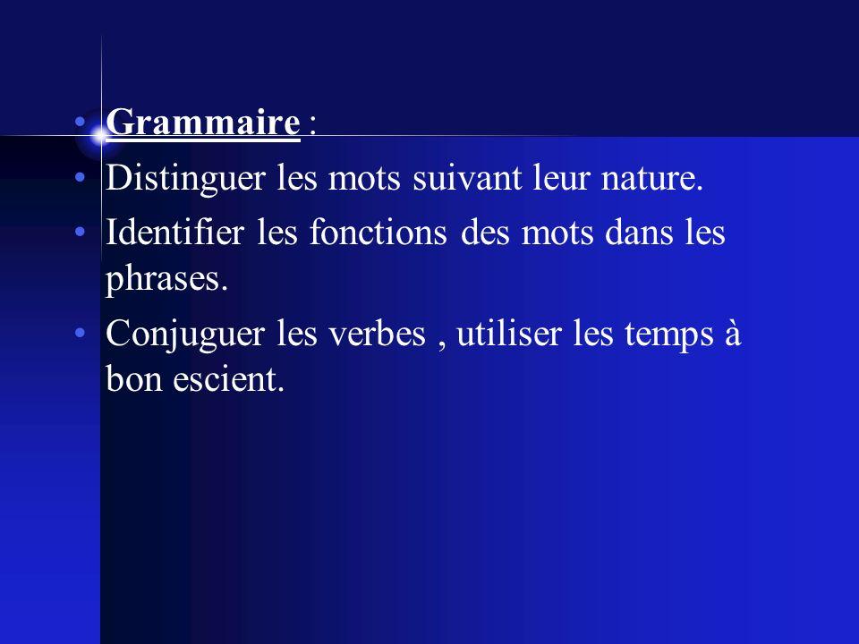 Grammaire : Distinguer les mots suivant leur nature.