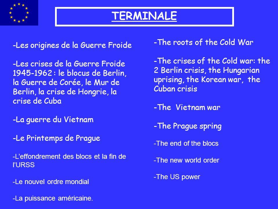 TERMINALE -Les origines de la Guerre Froide -Les crises de la Guerre Froide 1945-1962 : le blocus de Berlin, la Guerre de Corée, le Mur de Berlin, la