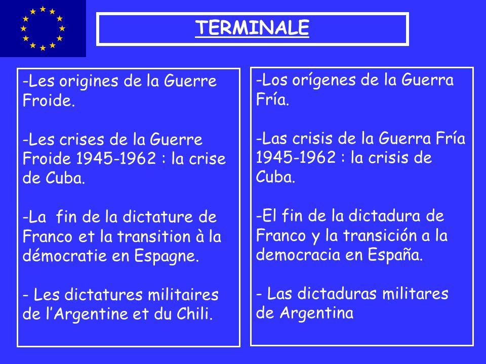 TERMINALE -Les origines de la Guerre Froide. -Les crises de la Guerre Froide 1945-1962 : la crise de Cuba. -La fin de la dictature de Franco et la tra