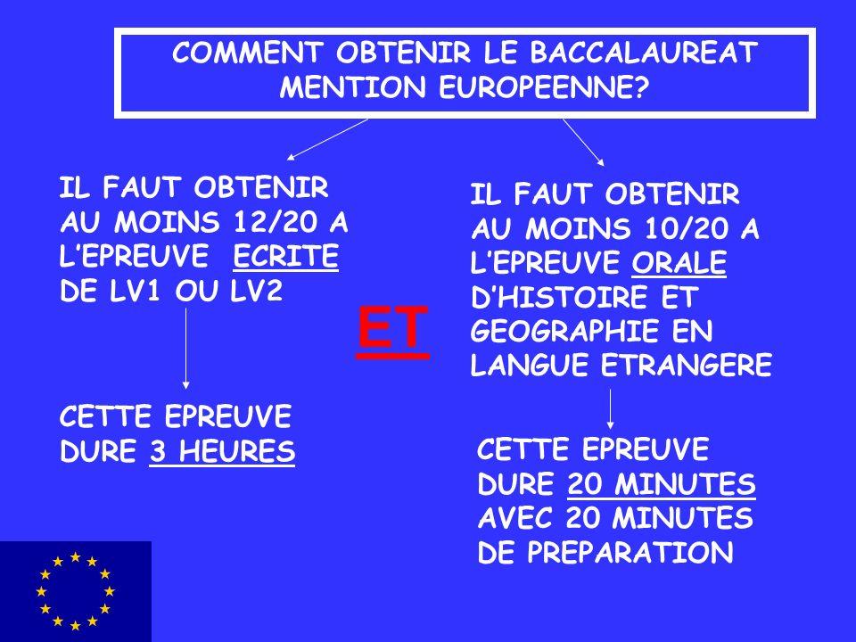 COMMENT OBTENIR LE BACCALAUREAT MENTION EUROPEENNE? IL FAUT OBTENIR AU MOINS 12/20 A LEPREUVE ECRITE DE LV1 OU LV2 IL FAUT OBTENIR AU MOINS 10/20 A LE