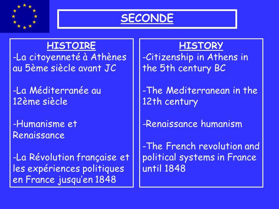 SECONDE HISTOIRE -La citoyenneté à Athènes au 5ème siècle avant JC -La Méditerranée au 12ème siècle -Humanisme et Renaissance -La Révolution française