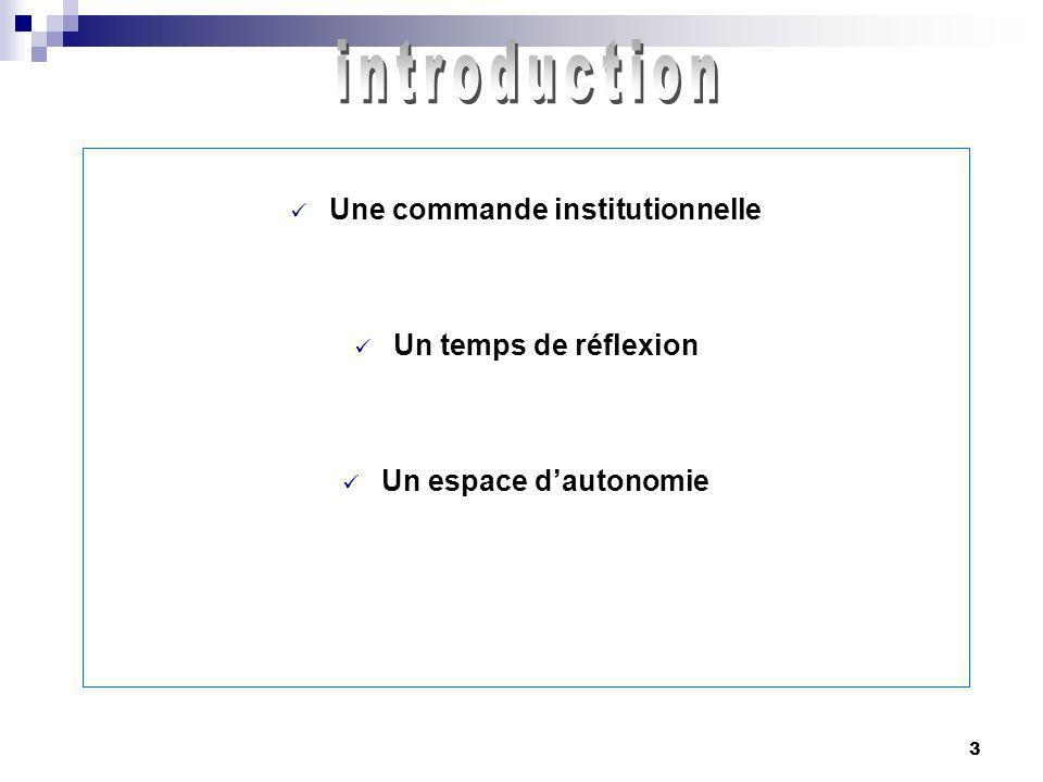 3 Une commande institutionnelle Un temps de réflexion Un espace dautonomie