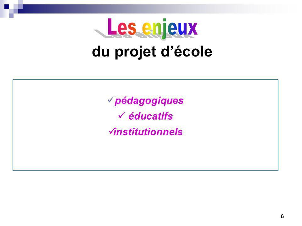 6 du projet décole pédagogiques éducatifs institutionnels