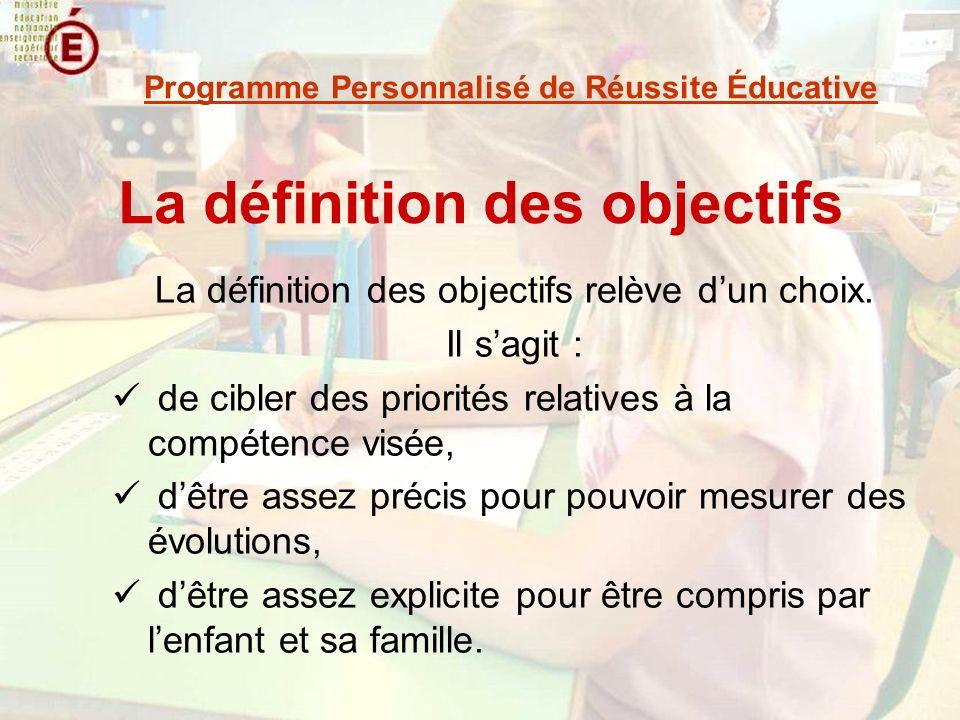 La définition des objectifs La définition des objectifs relève dun choix. Il sagit : de cibler des priorités relatives à la compétence visée, dêtre as