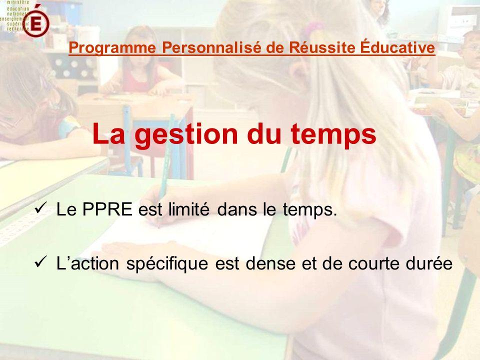 La gestion du temps Le PPRE est limité dans le temps. Laction spécifique est dense et de courte durée Programme Personnalisé de Réussite Éducative