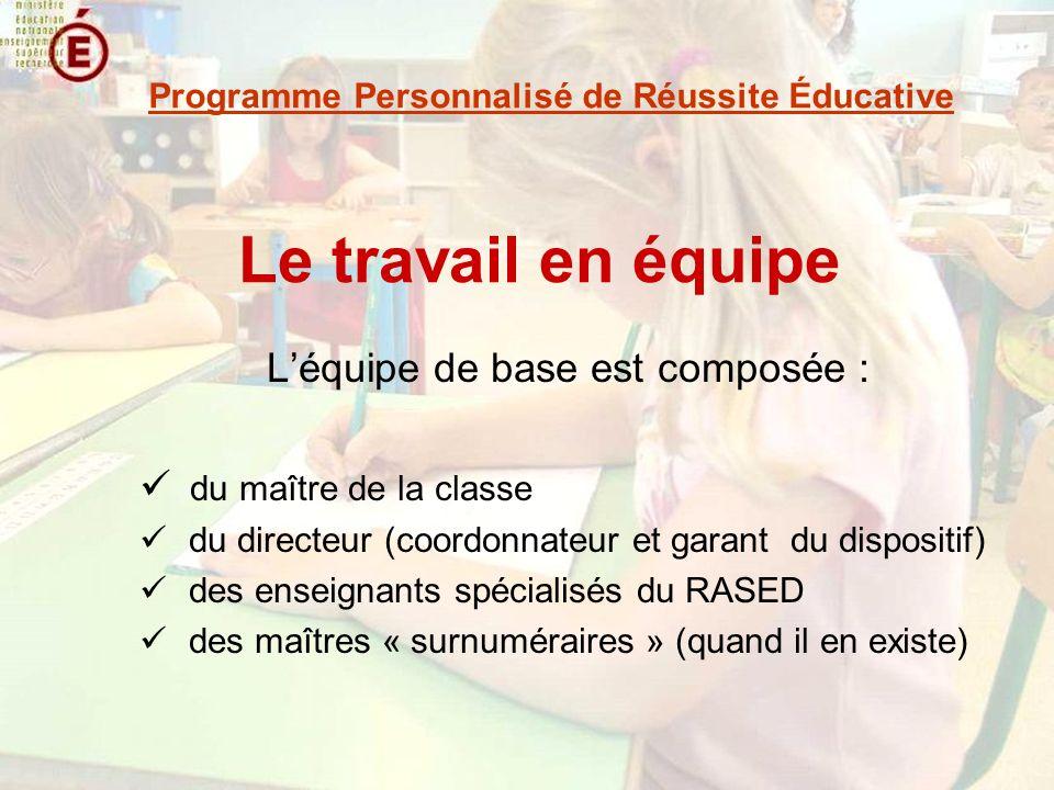 Le travail en équipe Léquipe de base est composée : du maître de la classe du directeur (coordonnateur et garant du dispositif) des enseignants spécia