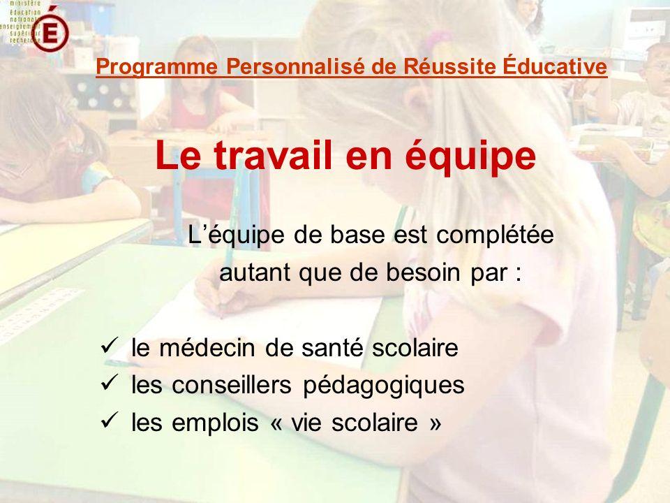 Le travail en équipe Léquipe de base est complétée autant que de besoin par : le médecin de santé scolaire les conseillers pédagogiques les emplois « vie scolaire » Programme Personnalisé de Réussite Éducative