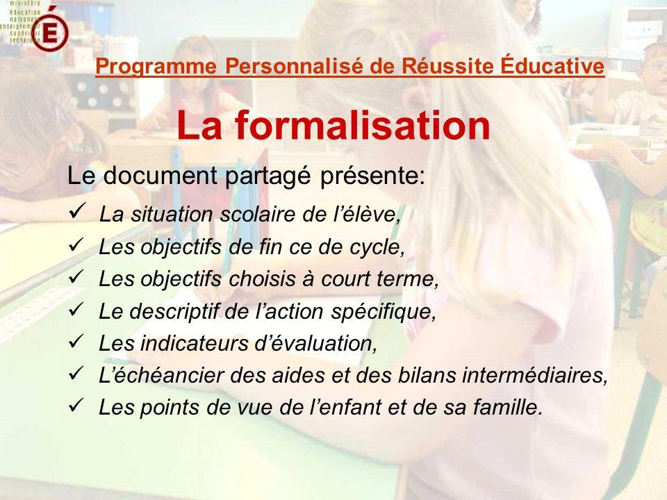 La formalisation Le document partagé présente: La situation scolaire de lélève, Les objectifs de fin ce de cycle, Les objectifs choisis à court terme,