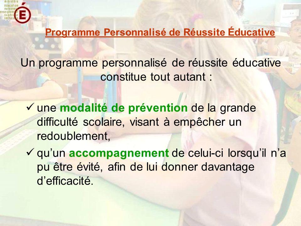 Un programme personnalisé de réussite éducative constitue tout autant : Programme Personnalisé de Réussite Éducative une modalité de prévention de la