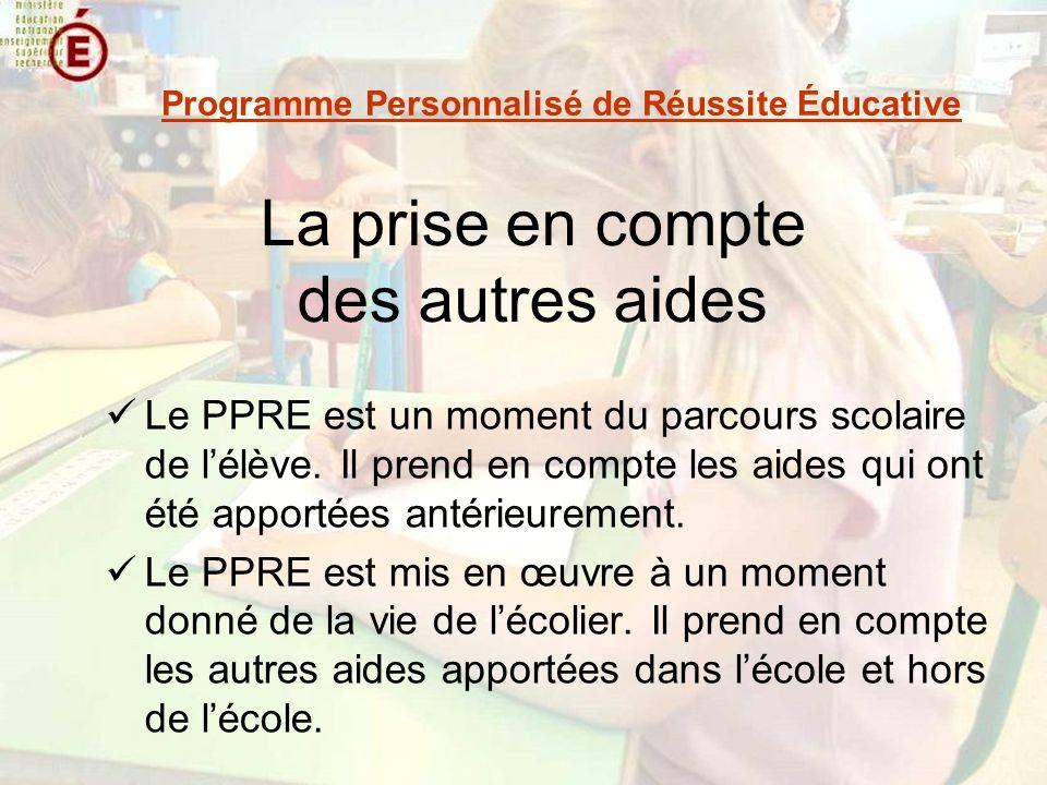 La prise en compte des autres aides Le PPRE est un moment du parcours scolaire de lélève. Il prend en compte les aides qui ont été apportées antérieur