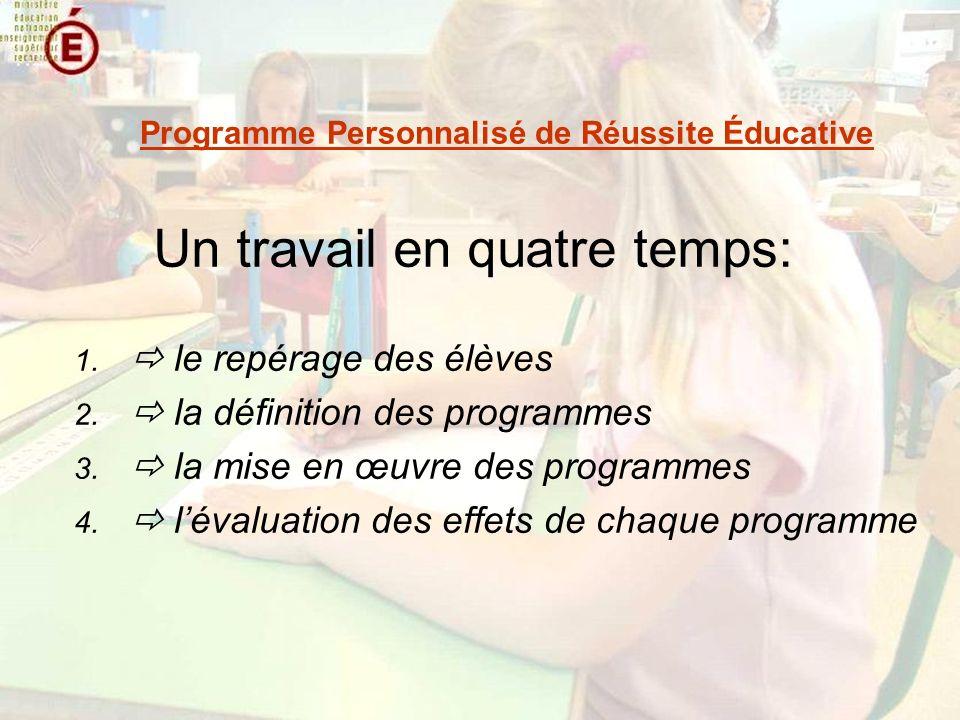 Un travail en quatre temps: 1. le repérage des élèves 2. la définition des programmes 3. la mise en œuvre des programmes 4. lévaluation des effets de