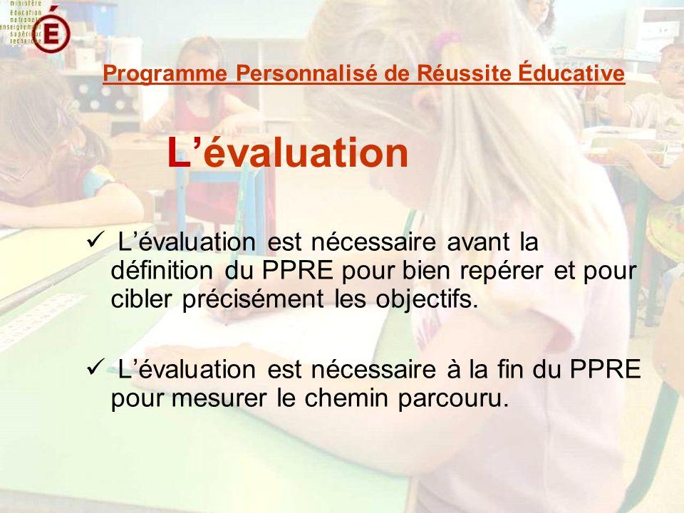 Lévaluation Lévaluation est nécessaire avant la définition du PPRE pour bien repérer et pour cibler précisément les objectifs. Lévaluation est nécessa