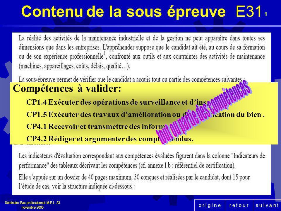 r e t o u rs u i v a n to r i g i n e Séminaire Bac professionnel M.E.I. 23 novembre 2005 1 Contenu de la sous épreuve E31 Compétences à valider: CP1.