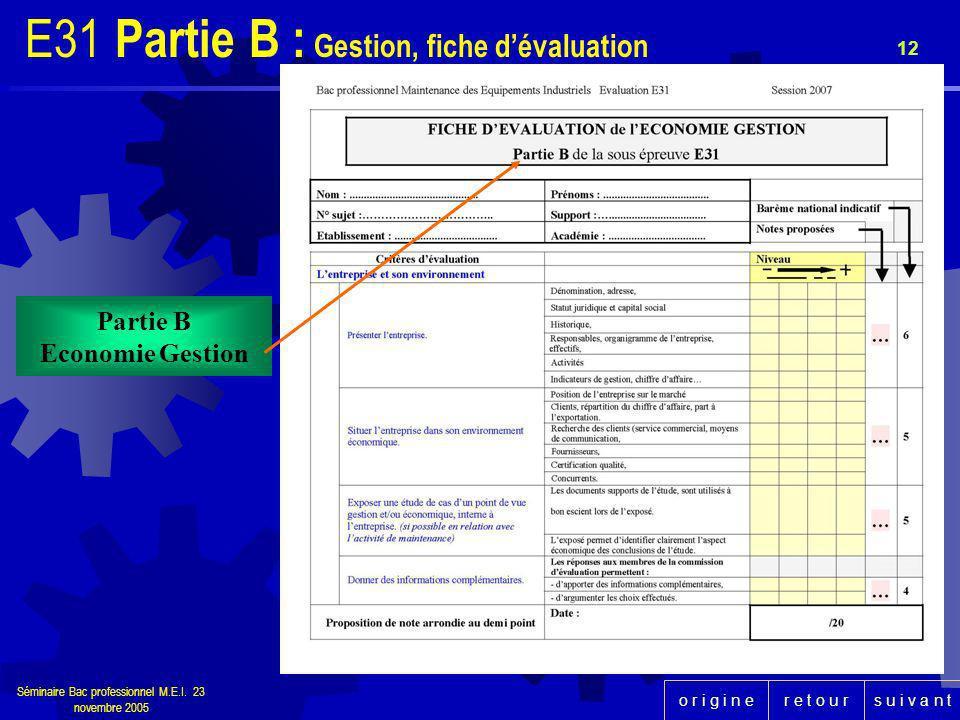r e t o u rs u i v a n to r i g i n e Séminaire Bac professionnel M.E.I. 23 novembre 2005 12 Partie B Economie Gestion E31 Partie B : Gestion, fiche d