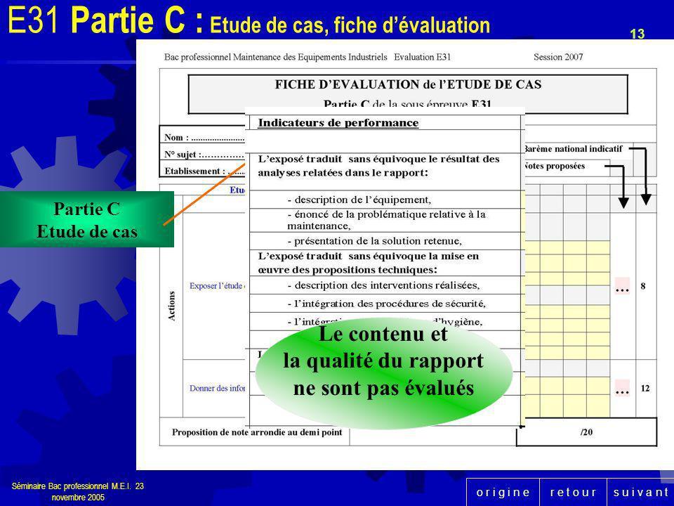 r e t o u rs u i v a n to r i g i n e Séminaire Bac professionnel M.E.I. 23 novembre 2005 13 Partie C Etude de cas E31 Partie C : Etude de cas, fiche