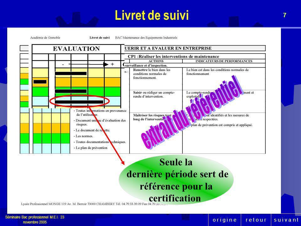 r e t o u rs u i v a n to r i g i n e Séminaire Bac professionnel M.E.I. 23 novembre 2005 7 Livret de suivi Seule la dernière période sert de référenc