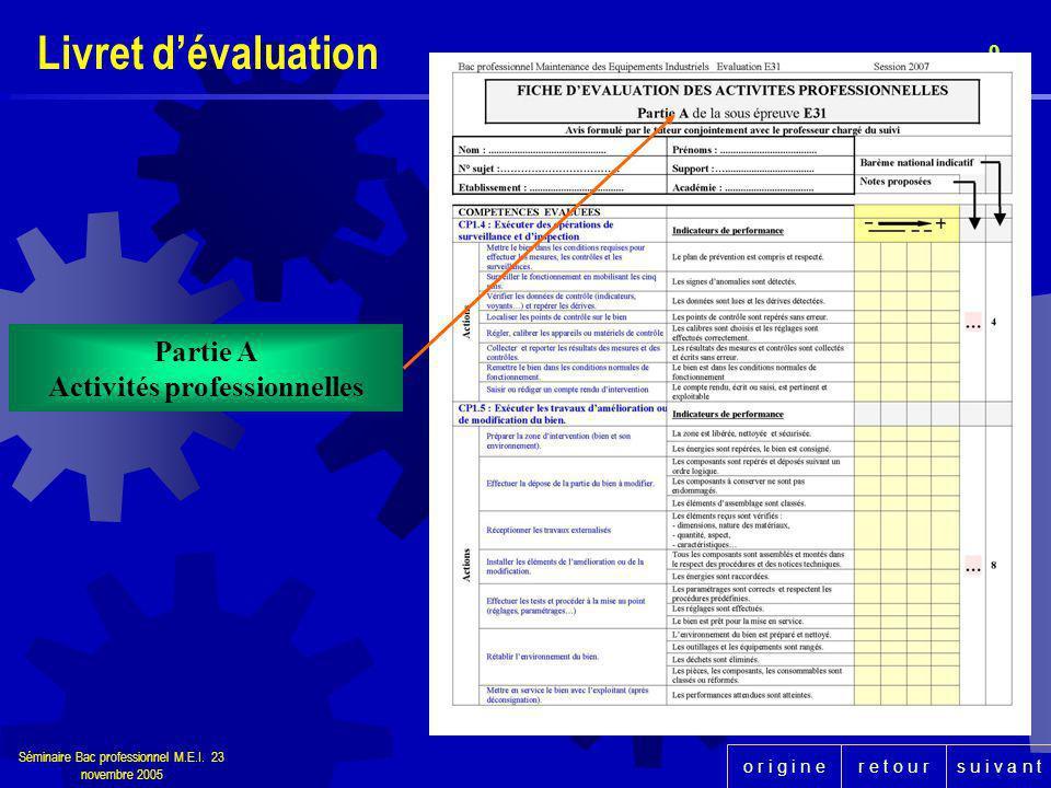 r e t o u rs u i v a n to r i g i n e Séminaire Bac professionnel M.E.I. 23 novembre 2005 9 Partie A Activités professionnelles Livret dévaluation