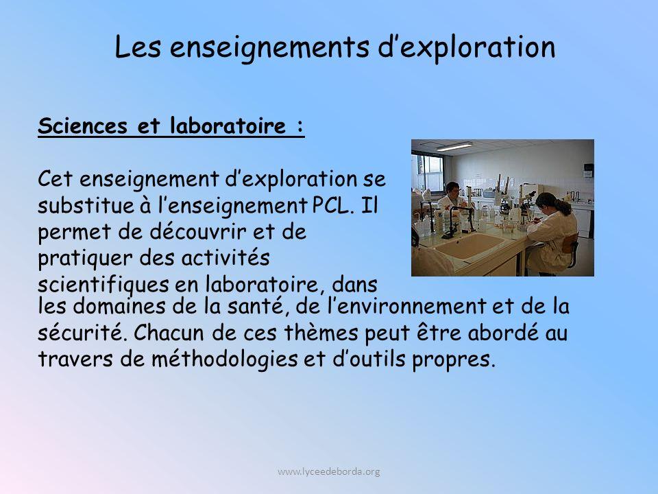 Sciences et laboratoire : Cet enseignement dexploration se substitue à lenseignement PCL.