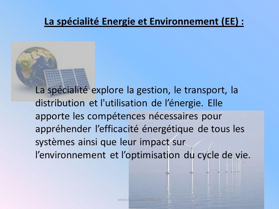 www.lyceedeborda.org La spécialité explore la gestion, le transport, la distribution et l utilisation de lénergie.
