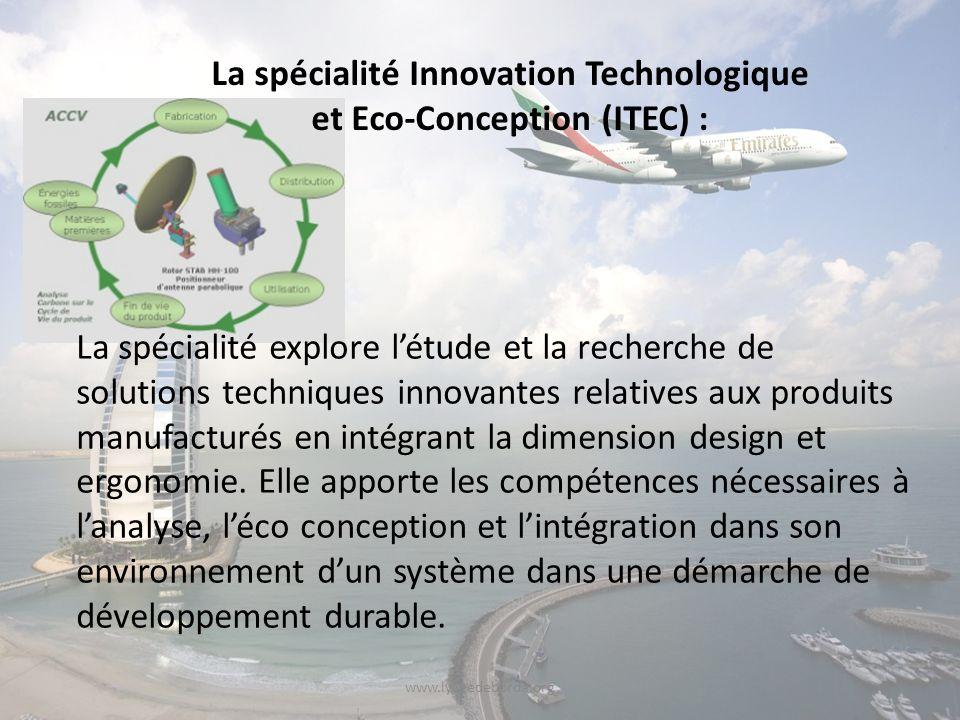 www.lyceedeborda.org La spécialité explore létude et la recherche de solutions techniques innovantes relatives aux produits manufacturés en intégrant la dimension design et ergonomie.