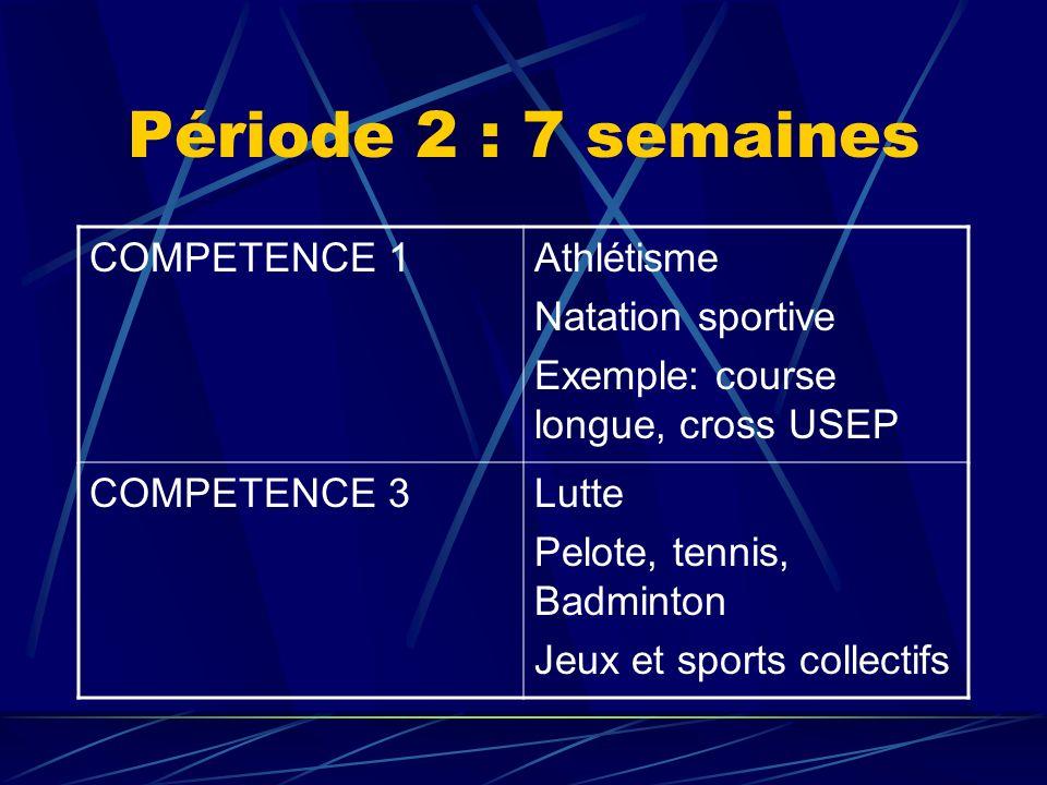 Période 2 : 7 semaines COMPETENCE 1Athlétisme Natation sportive Exemple: course longue, cross USEP COMPETENCE 3Lutte Pelote, tennis, Badminton Jeux et sports collectifs