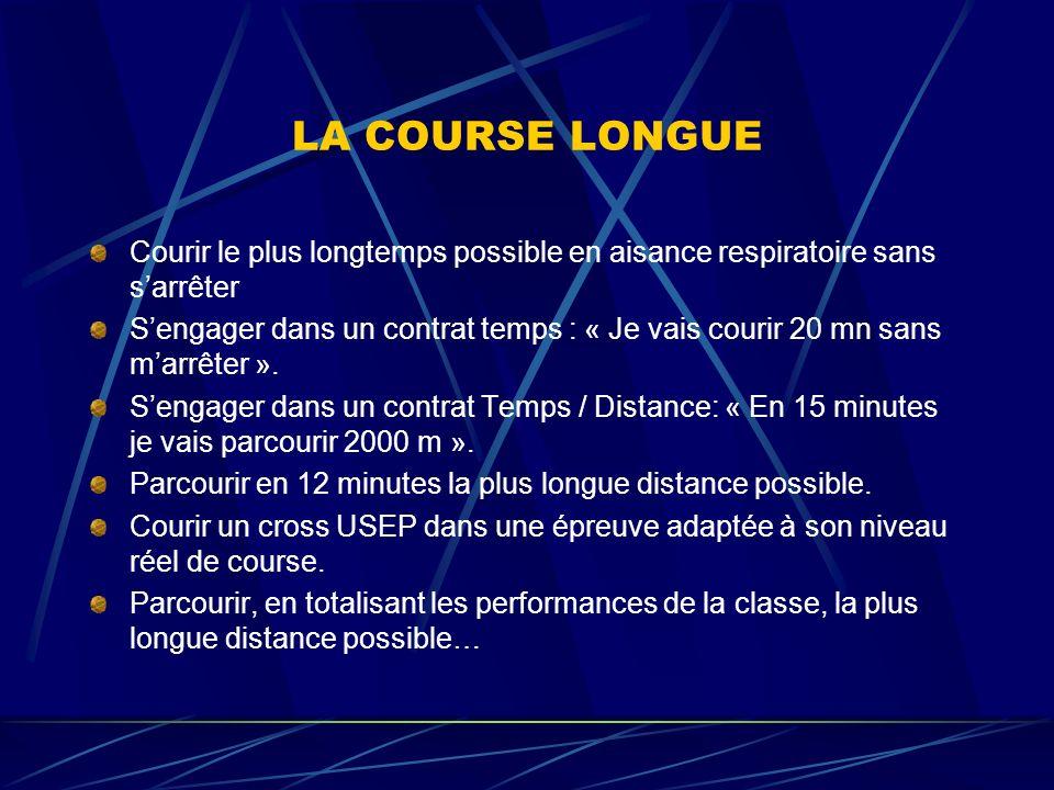 LA COURSE LONGUE Courir le plus longtemps possible en aisance respiratoire sans sarrêter Sengager dans un contrat temps : « Je vais courir 20 mn sans marrêter ».