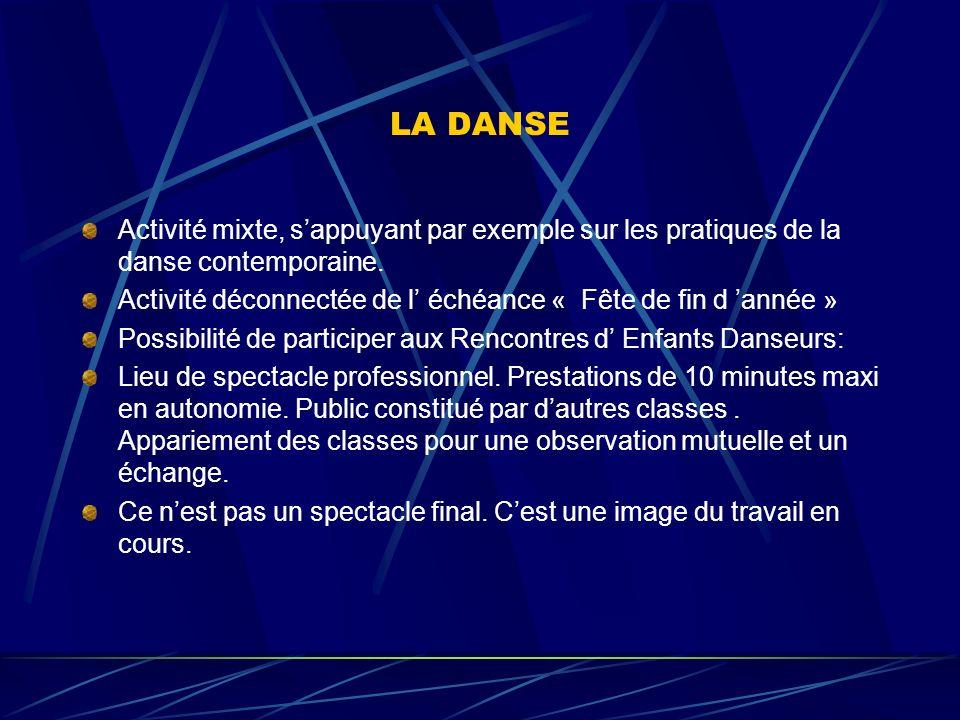 LA DANSE Activité mixte, sappuyant par exemple sur les pratiques de la danse contemporaine.