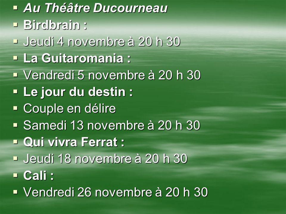 Au Théâtre Ducourneau Au Théâtre Ducourneau Birdbrain : Birdbrain : Jeudi 4 novembre à 20 h 30 Jeudi 4 novembre à 20 h 30 La Guitaromania : La Guitaro