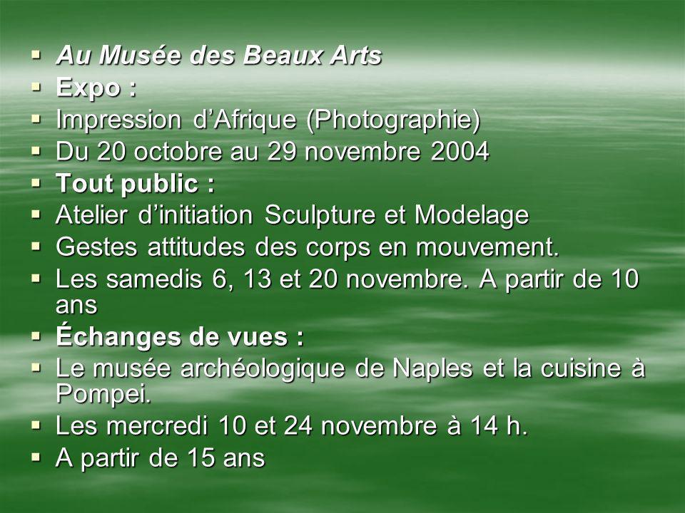 Au Musée des Beaux Arts Au Musée des Beaux Arts Expo : Expo : Impression dAfrique (Photographie) Impression dAfrique (Photographie) Du 20 octobre au 2
