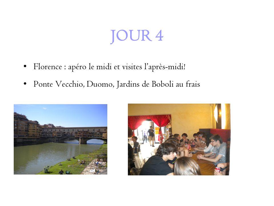 JOUR 4 Florence : apéro le midi et visites laprès-midi.