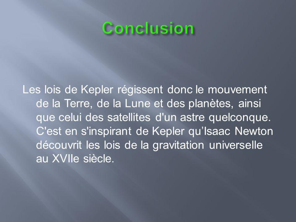 Les lois de Kepler régissent donc le mouvement de la Terre, de la Lune et des planètes, ainsi que celui des satellites d un astre quelconque.
