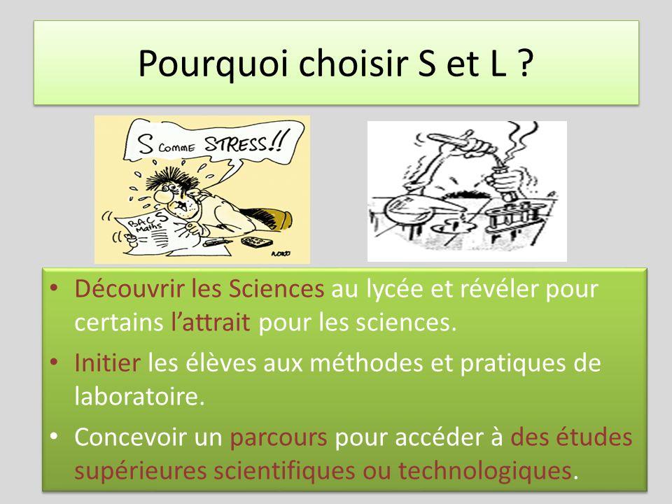 Pourquoi choisir S et L ? Découvrir les Sciences au lycée et révéler pour certains lattrait pour les sciences. Initier les élèves aux méthodes et prat