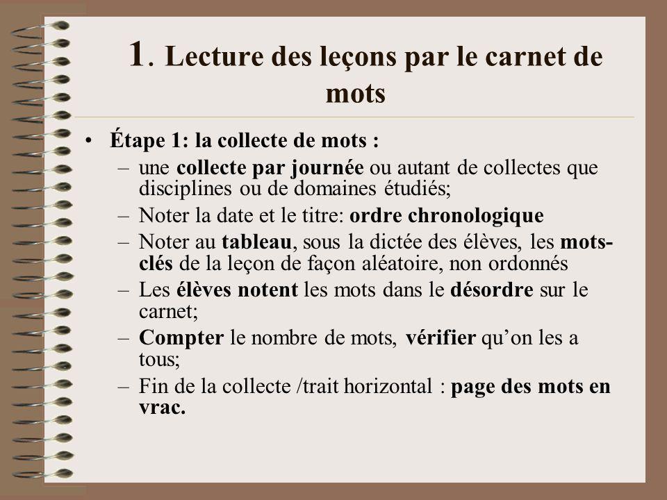 1. Lecture des leçons par le carnet de mots Étape 1: la collecte de mots : –une collecte par journée ou autant de collectes que disciplines ou de doma