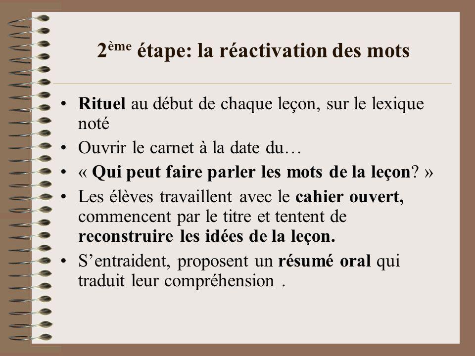 2 ème étape: la réactivation des mots Rituel au début de chaque leçon, sur le lexique noté Ouvrir le carnet à la date du… « Qui peut faire parler les