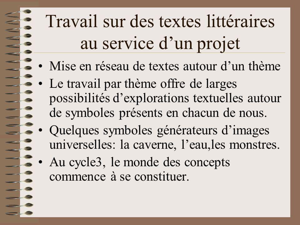 Travail sur des textes littéraires au service dun projet Mise en réseau de textes autour dun thème Le travail par thème offre de larges possibilités d