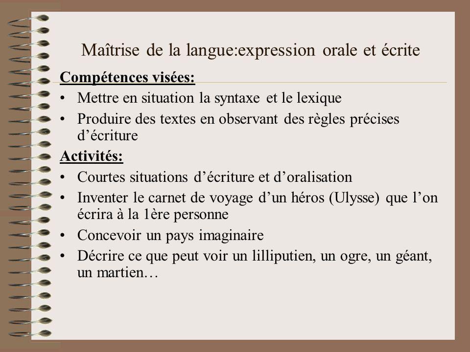 Maîtrise de la langue:expression orale et écrite Compétences visées: Mettre en situation la syntaxe et le lexique Produire des textes en observant des