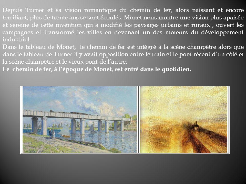 Depuis Turner et sa vision romantique du chemin de fer, alors naissant et encore terrifiant, plus de trente ans se sont écoulés. Monet nous montre une