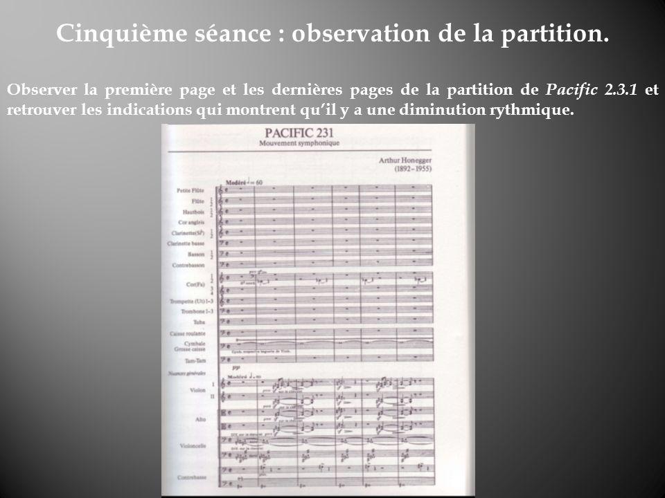 Cinquième séance : observation de la partition. Observer la première page et les dernières pages de la partition de Pacific 2.3.1 et retrouver les ind