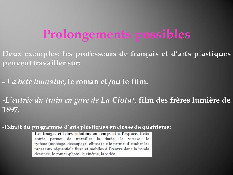 Prolongements possibles Deux exemples: les professeurs de français et darts plastiques peuvent travailler sur: - La bête humaine, le roman et /ou le f
