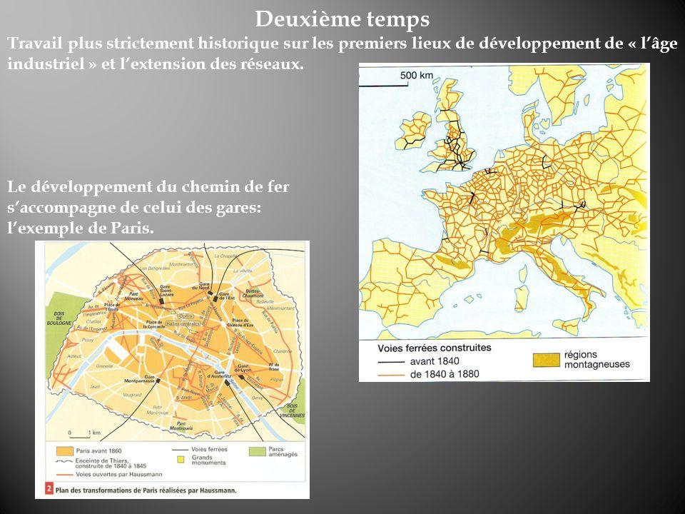 Deuxième temps Travail plus strictement historique sur les premiers lieux de développement de « lâge industriel » et lextension des réseaux. Le dévelo