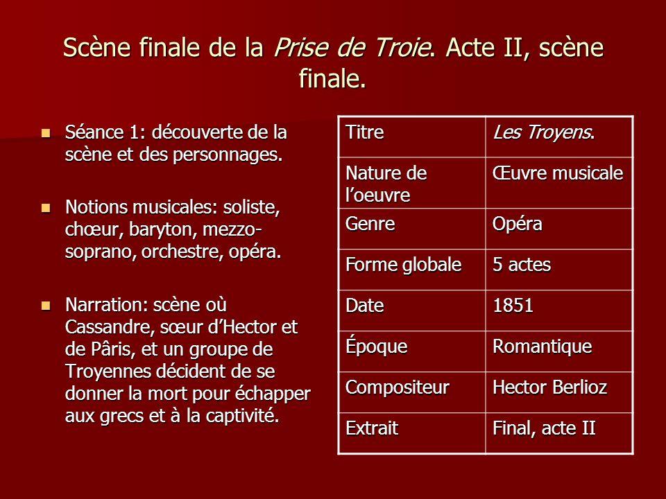 Scène finale de la Prise de Troie. Acte II, scène finale. Séance 1: découverte de la scène et des personnages. Séance 1: découverte de la scène et des