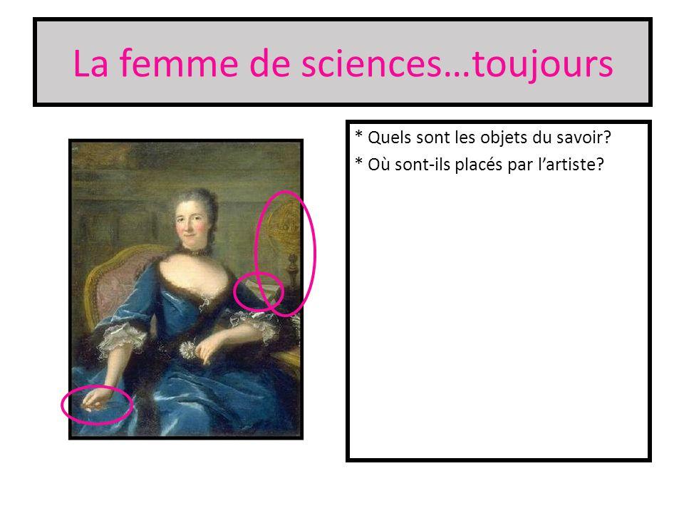 La femme de sciences…toujours * Quels sont les objets du savoir? * Où sont-ils placés par lartiste?