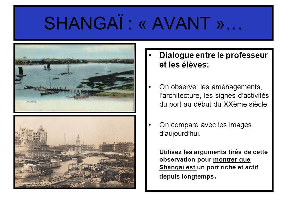 SHANGAÏ : « AVANT »… Dialogue entre le professeur et les élèves: On observe: les aménagements, larchitecture, les signes dactivités du port au début d