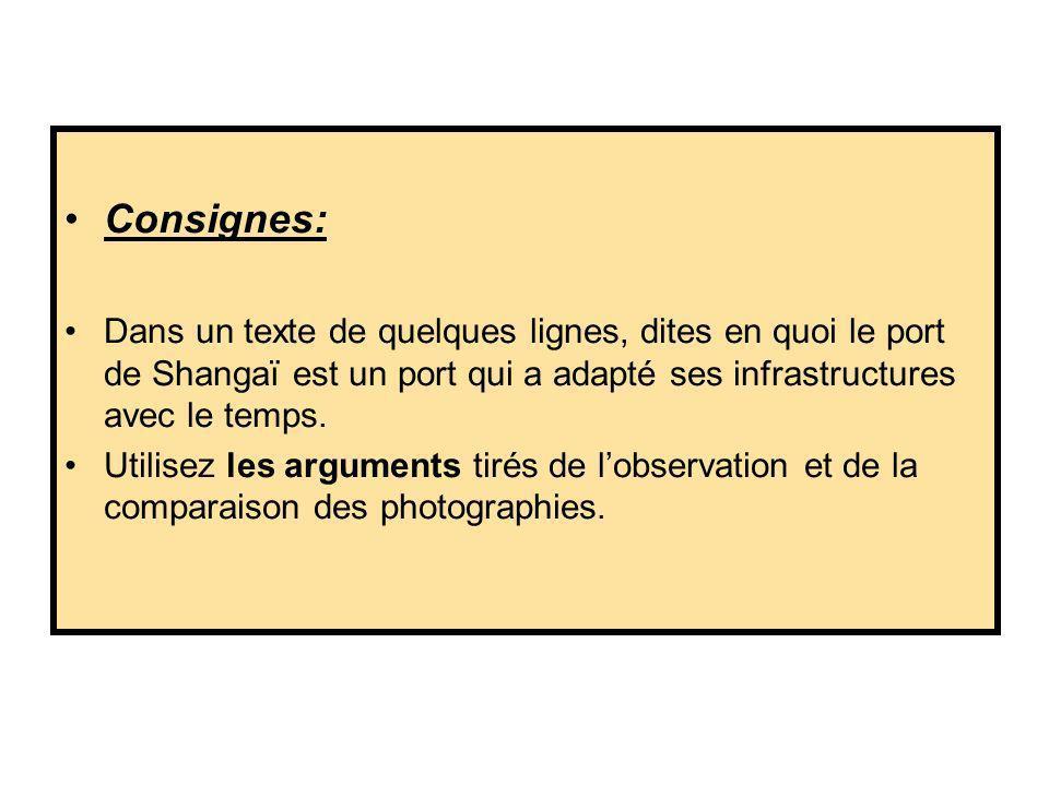 Consignes: Dans un texte de quelques lignes, dites en quoi le port de Shangaï est un port qui a adapté ses infrastructures avec le temps. Utilisez les