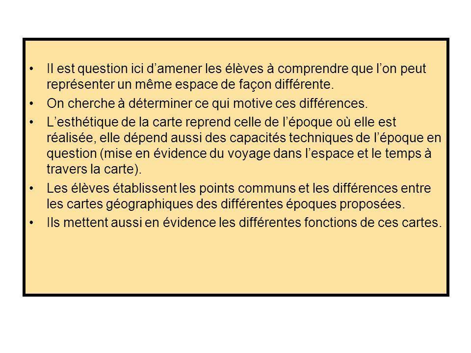 Il est question ici damener les élèves à comprendre que lon peut représenter un même espace de façon différente.