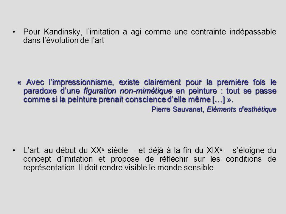 Pour Kandinsky, limitation a agi comme une contrainte indépassable dans lévolution de lart « Avec limpressionnisme, existe clairement pour la première