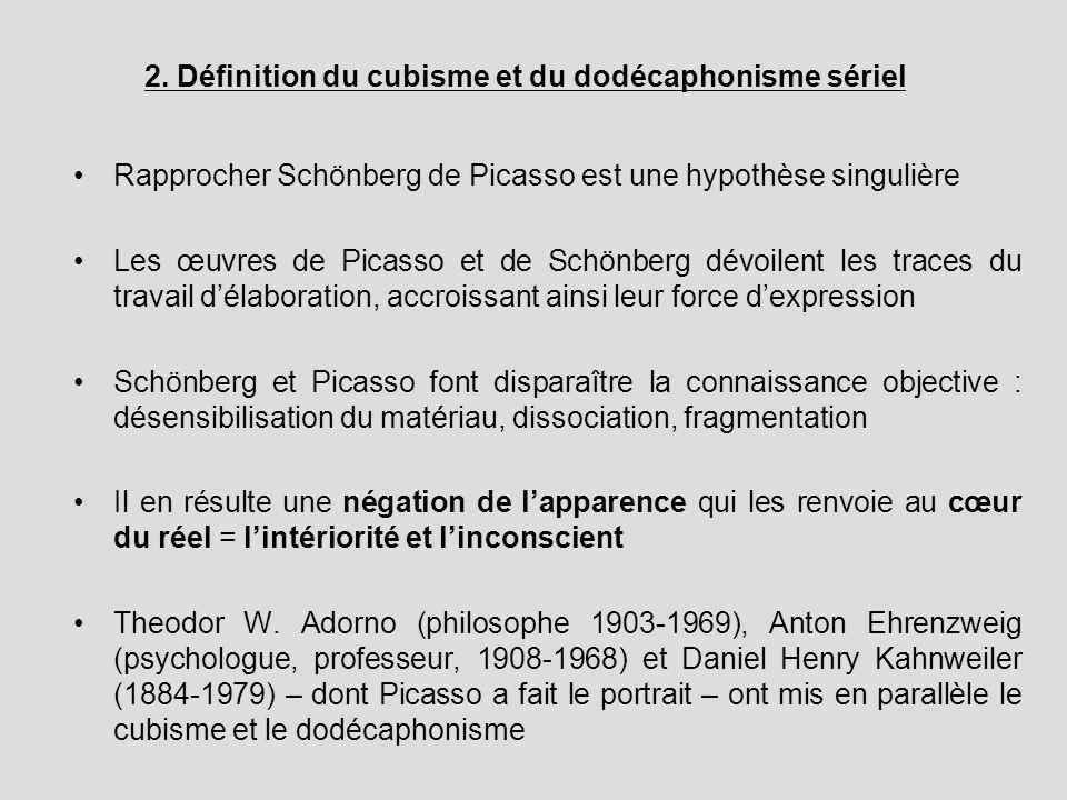 2. Définition du cubisme et du dodécaphonisme sériel Rapprocher Schönberg de Picasso est une hypothèse singulière Les œuvres de Picasso et de Schönber