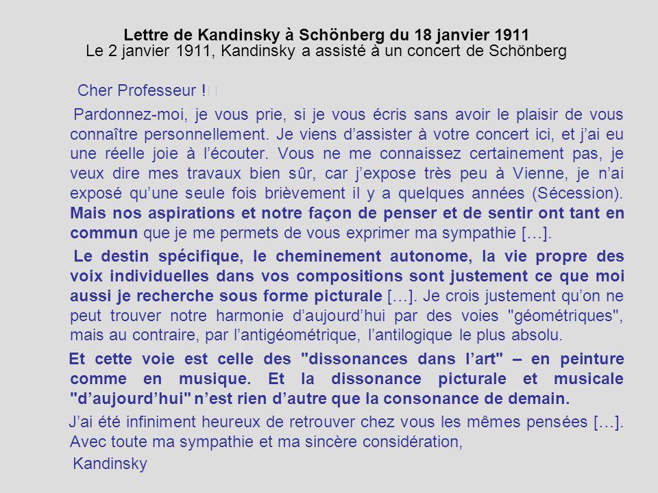 Lettre de Kandinsky à Schönberg du 18 janvier 1911 Le 2 janvier 1911, Kandinsky a assisté à un concert de Schönberg Cher Professeur ! Pardonnez-moi, j